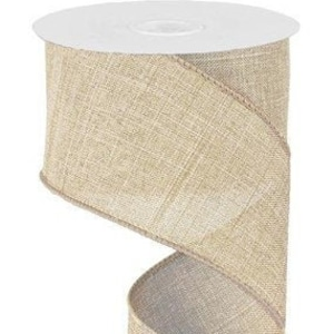2.5 50 yards Black Stripe on Tan Canvas Wired Ribbon Linen Natural Fifty Yards on the Roll