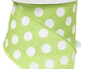 Bright Green White Polka Dot Wired Ribbon By the Roll 2.5 quot X 10 YARD ROLL