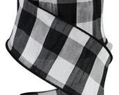 Black White Plaid Wired Ribbon By the Roll Faux Dupioni 2.5 quot x 10 YARD ROLL