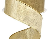 Metallic Gold Wired Ribbon By the Roll 1.5 quot X 10 Yard Roll