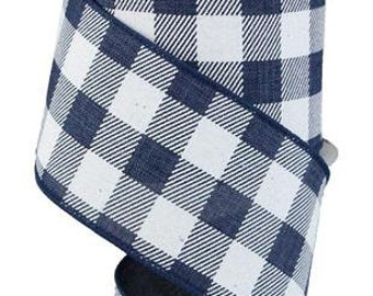 Gingham Check Navy Blue White Ribbon 25mm *4 Lengths*