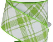 Lime Green White Plaid Wired Ribbon By the Roll 2.5 quot Canvas Diagonal Fall Halloween Spring Easter Wreath Bow Craft Supplies 10 YARD ROLL