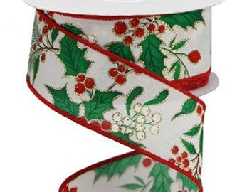 Holly And Berries Christmas Wired Natural Ribbon 2 12 Inches Wide x 10 Yards