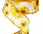 Sunflower Wired Ribbon By the Roll for Wreaths or Bows 1.5 quot x 10 YARD Roll RG01174N7