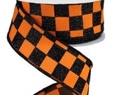 Orange Black Glitter Check Wired Ribbon By the Roll 1.5 quot x 10 YARD ROLL