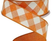 Orange Ivory Buffalo Plaid Wired Ribbon By the Roll 1.5 quot Canvas Diagonal Check Wreath Bow Craft Supplies 10 YARD ROLL