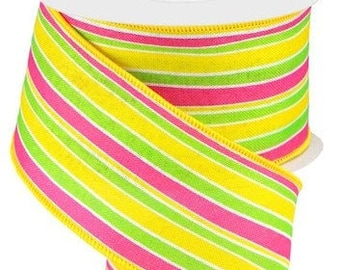 Sold by the metre 22mm Grosgrain Bright Multicoloured Stripe Polyester Ribbon