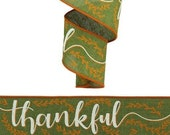 Thankful Fall Wired Ribbon By the Roll for Wreaths or Bows 2.5 quot Canvas Moss Green Orange Ivory 10 YARD ROLL