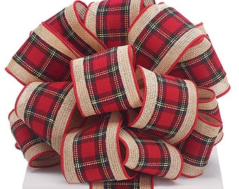 plaid christmas wired ribbon 25 by the roll or yard red plaid tan burlap farmhouse christmas holiday wreath supplies choose your length