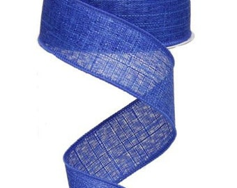 "1.5"" ROYAL BLUE//WHITE GINGHAM CHECK PLAID  WIRED EDGE RIBBON 1 metre 38mm"