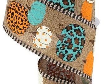 "Leopard Pumpkins Striped Edge  Wired Ribbon By the Roll 2.5"" x 10 Yards RGA8051WM"