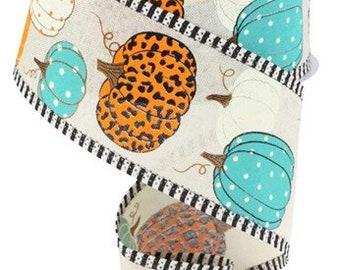 """Leopard Pumpkins Striped Edge  Wired Ribbon By the Roll 2.5"""" x 10 Yards RGA805194"""