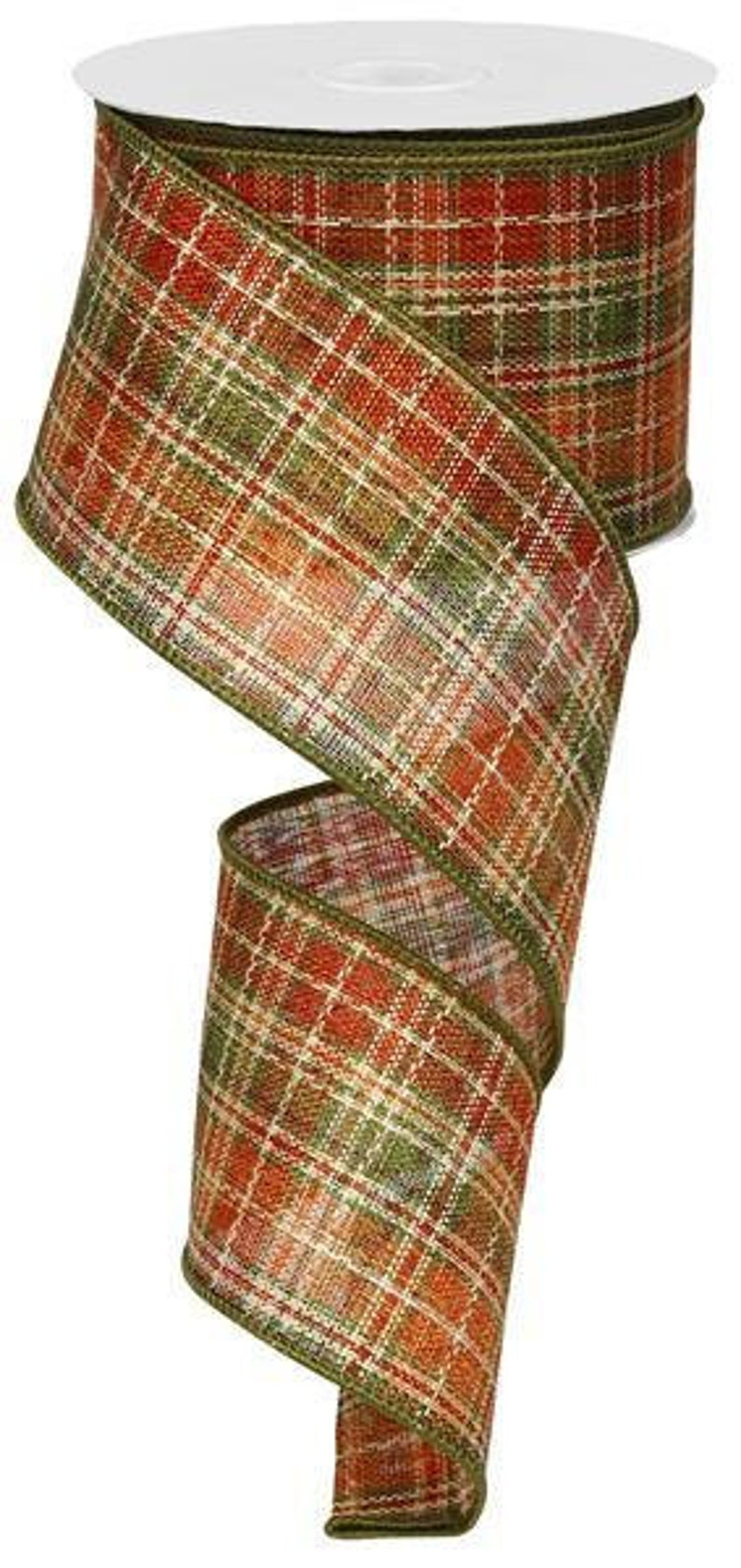 Orange Green Fall Plaid Wired Ribbon By the Roll for Wreaths or Bows 2.5x10 YARD ROLL RG01091