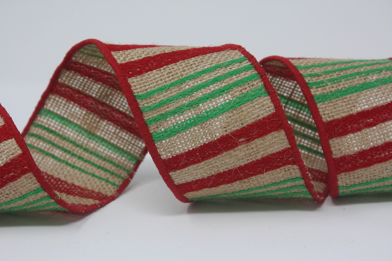 Noël de ruban par la toile de rouge Jute rayure vert rouge de rouleau 2,5