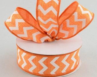 "Wired Ribbon 1.5"" Orange White Chevron Canvas Like 1 1/2 Inch Summer Halloween Wreath Bow Decor 3 or 5 YARDS"