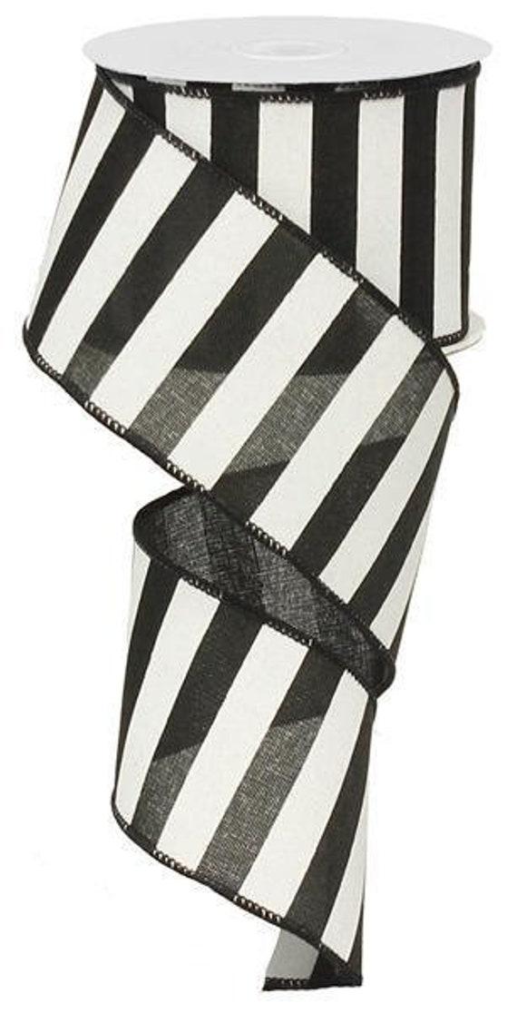 10 Yards Christmas White Horizontal Stripes Linen Ribbon