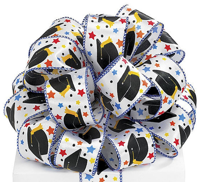 Graduation Wired Ribbon By the Roll 1.5 Satin Caps Stars Graduation Decoration Gift Wrap Wreath Bow Craft Supplies 20 YARD ROLL