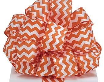 """2.5"""" Orange White Chevron Wired Ribbon Texas Wreath 5 YARDS"""
