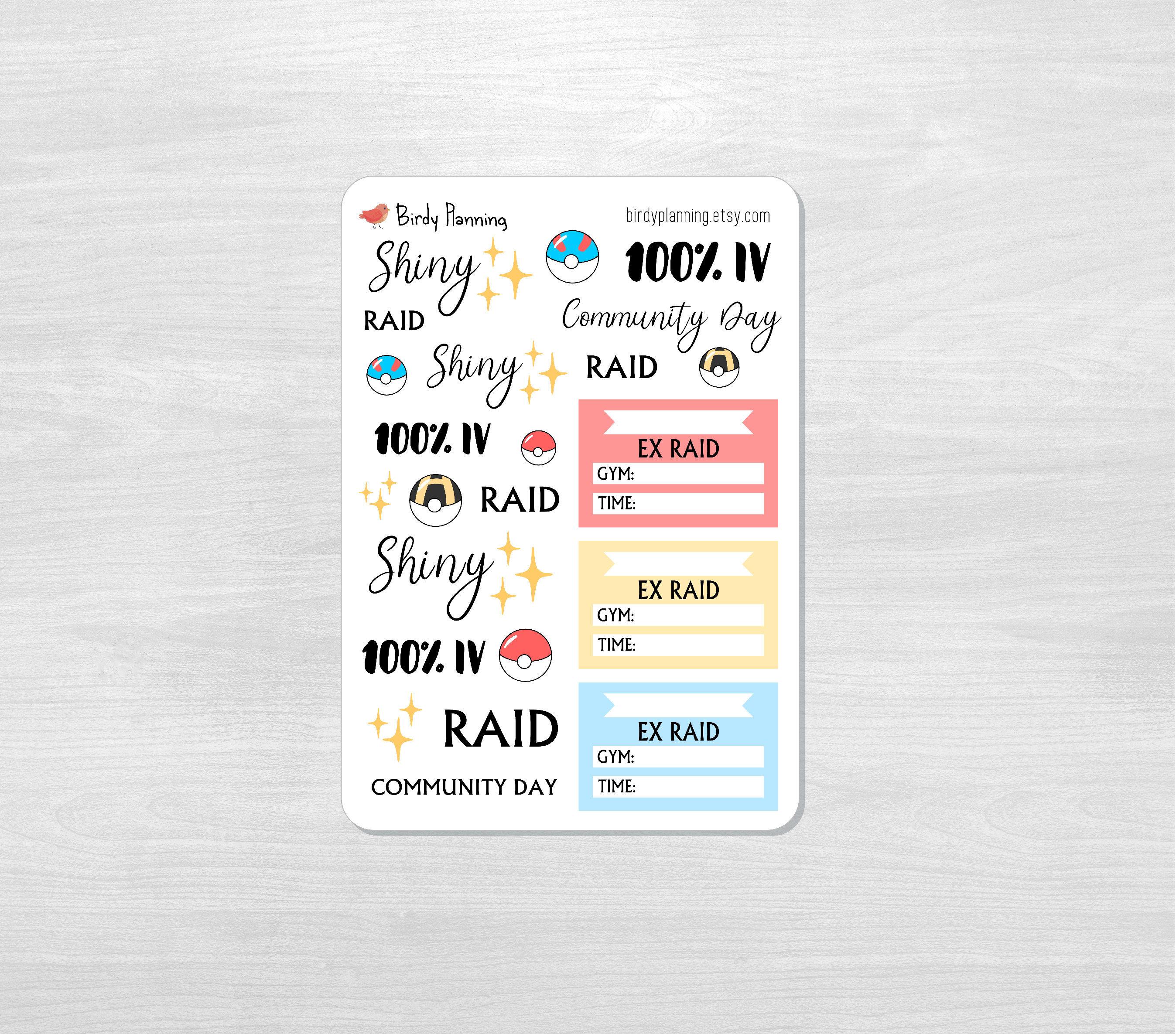 Pokemon Go Stickers - Raid, Shiny, 100% IV, Community Day, EX Raid - Birdy  Planning