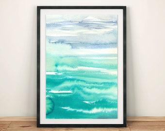 Seafoam Waves Beach Watercolor Art Print Poster