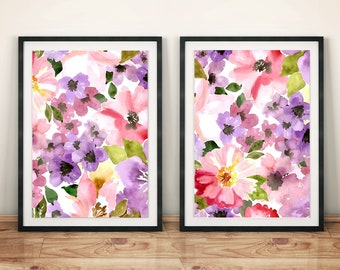 Watercolor Pink Floral Print Poster Set