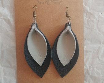 Leather Pleated Leaf Earrings - Black & Gray