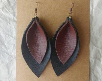Leather Leaf Earrings ~ Black/Brown