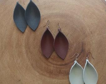 Leather Pleated Leaf Earrings ~ Black, Brown, or Gray