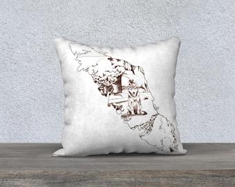 Vancouver Island Wolf Line Art Pillow Case White Minimalist