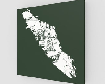 White Wolf Line Drawing Green Canvas Art Minimalist