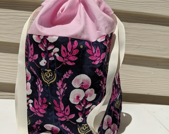 Lined purple floral project drawstring bag