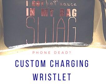Custom Wristlet/Pouch. Personalized Wristlet. Charging Wristlet.