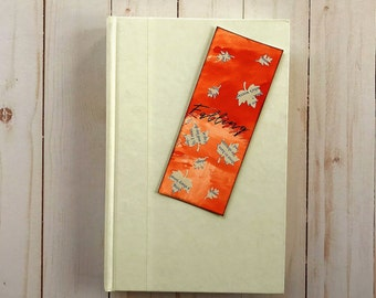 Falling Leaves Page Book Mark / Watercolor Bookmarks / Book Page Art / Leaf Art / Engagement Gift / Autumn Lover