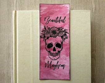 Shimmer Watercolor Bookmark / Stamped Skull Beautiful Mayhem Book Mark / Skull Flowers / Paper Bookmark / Reader Gift / Day of the Dead