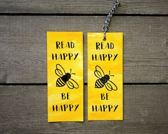 Read Happy, Be Happy Bookmark / Yellow and Black / Bee Stamp / Bee Lover / Book Mark for Books / Reader Gift / Paper Bookmarks / Booktickets
