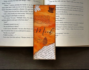 Fall Watercolor Bookmark / Autumn Mood Board / Gift for Bookworm / Reader Gift  / Literary Art / Book Art / Page Art / Book Gift / Halloween