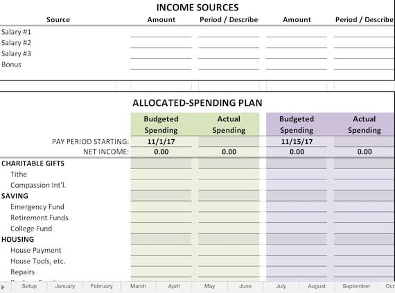 yearly budget spreadsheet etsy