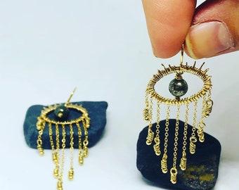 Gold Fringe Eye Earring