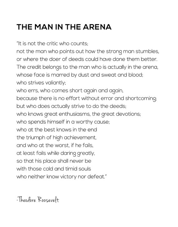 photograph relating to The Man in the Arena Printable known as The Gentleman within just the Arena printable, Bold Considerably, Dwelling Decor, Property Warming Present, Motivational, Inspirational estimate, Place of work Decor, Dorm decor