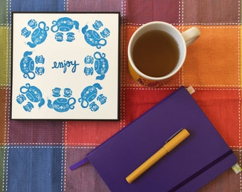 Enjoy a cup of tea - Print in blue