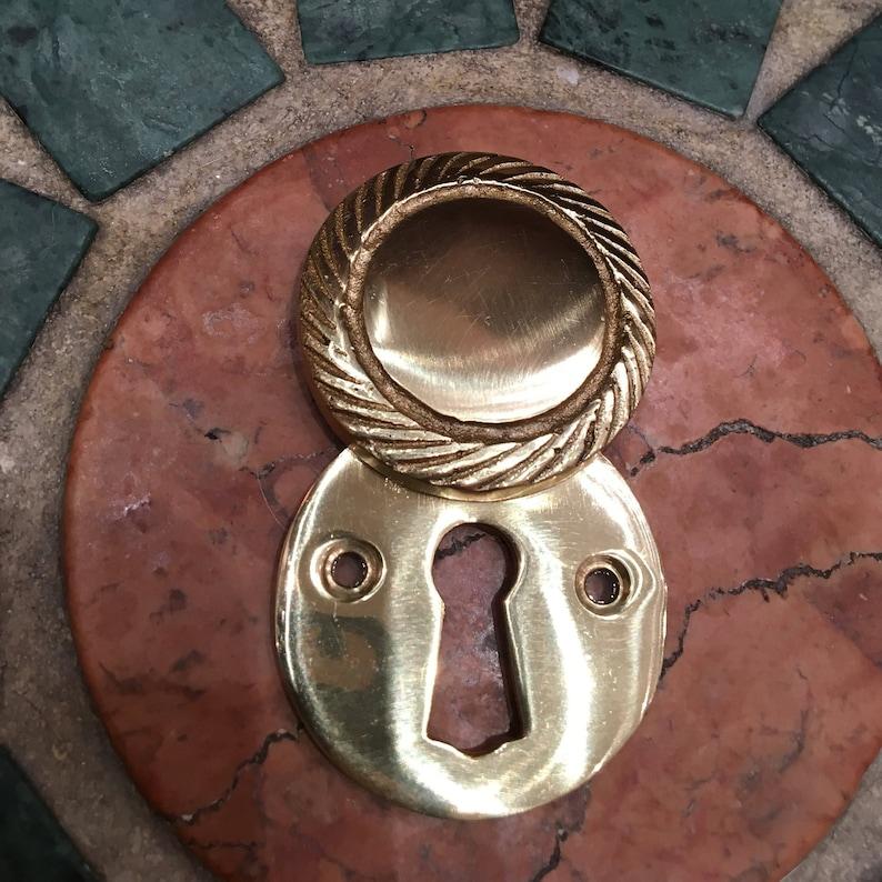 Brass Key Hole with Swivel Key Hole Cover Lovely Vintage Escutcheon Design