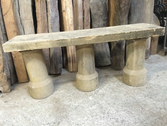 Fabulous Garden Bench Seat York Stone Top Seat Old Genuine Reconstituted Stone Reclaimed Column Legs Inzonedesignstudio Interior Chair Design Inzonedesignstudiocom