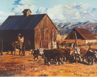 Last Fall Gathering, Limited Edition Western Fine Art Print by Wayne Justus