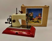 Vintage EMG Comet Children 39 s Toy Hand Cranked Sewing Machine-Tinplate-Boxed