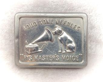 His Masters Voice/HMV Vintage Gramophone Needle Tin/Vesta Case