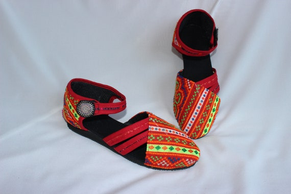 Shoes Hand Fabric Ethnic Summer 5 Strap Stitched Cotton FromThailand Cross Sandals US Hmong Womens Uppers T Vegan 8 R7xgqPgU