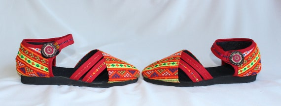 Stitched Womens Ethnic 9 FromThailand Sandals T Cotton Fabric 5 Uppers Summer Vegan US Hand Hmong Cross Strap Shoes 6wfq8YY