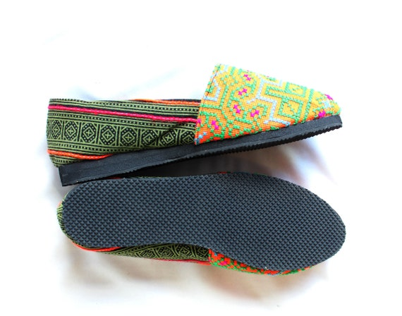 Janes Stitched Uppers US Hand Shoes Cotton Cross FromThailand Fabric Summer Traditional 10 Mary Hmong HwtpqFw