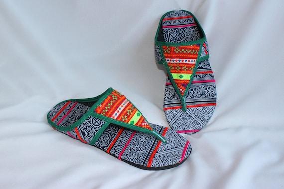 cousu Hmong nbsp; en US 9 dessus tissu Summer 5 en traditionnel Croix chaussures FromThailand coton main qOOBgv8Wa
