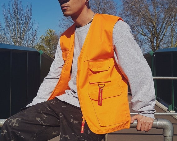 Y2K Utility Vest Neon Orange